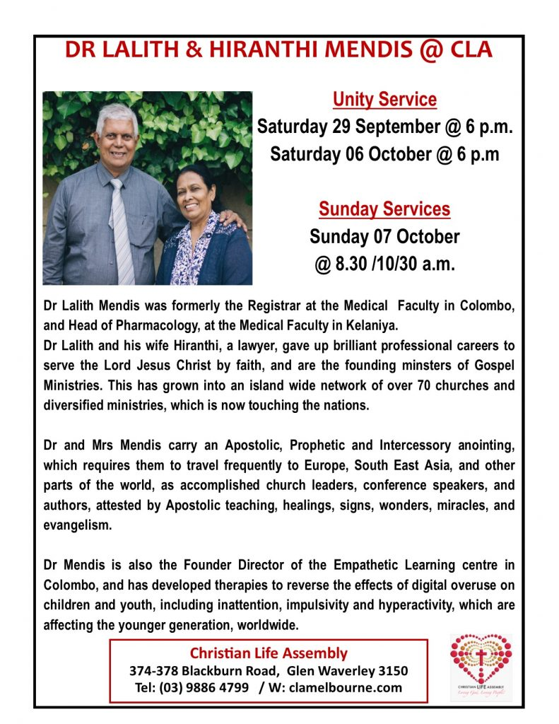 Dr Lalith & Hiranthi Mendis @ Unity Service - Christian Life